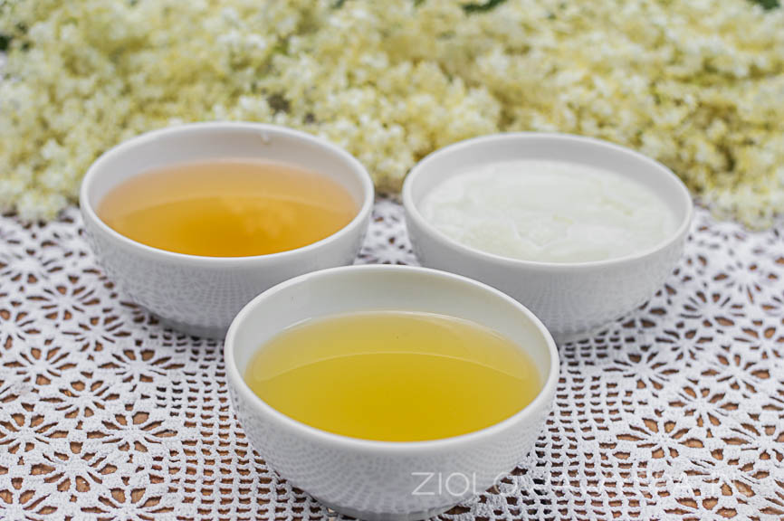 Ocet, macerat olejowy na bazie oleju kokosowego i gliceryt bzowy